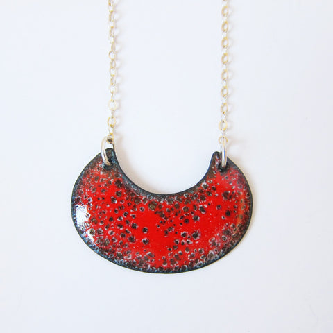 Enamel Red Crescent Necklace - Sterling Silver Chain