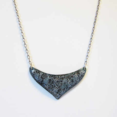 Black Enamel Bib Necklace - Sterling Silver Chain