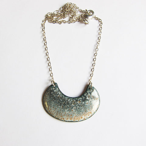 Oval Crescent Enamel Bib Necklace in Grays