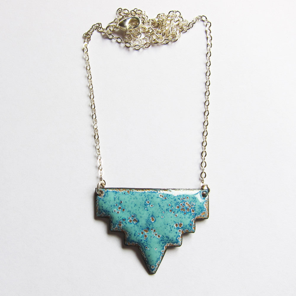 Geometric tribal enamel necklace - seafoam green