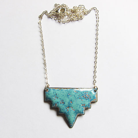 Geometric Tribal Enamel Necklace, Seafoam Green and Blue