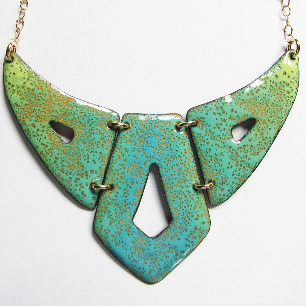 Big turquoise enamel geometric bib necklace