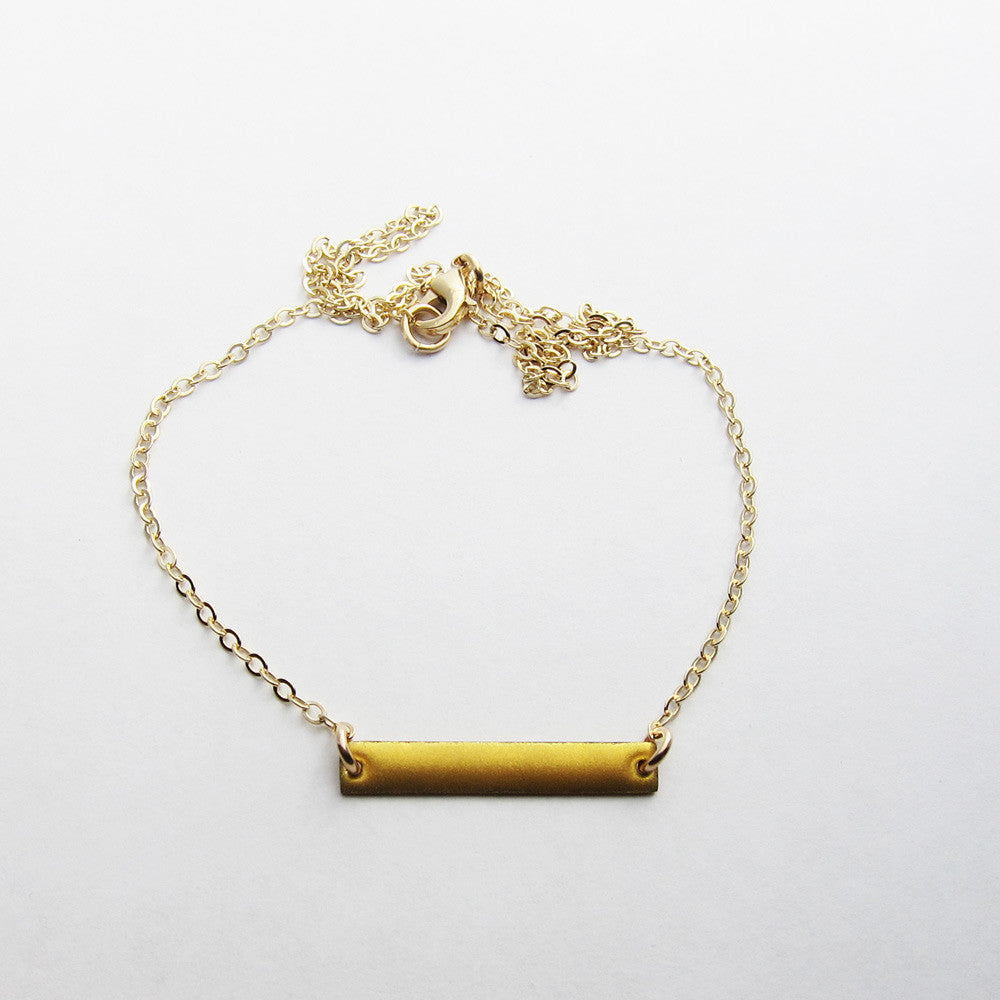 Petite enamel gold bar necklace