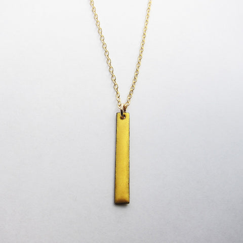 Dainty Enamel Gold Bar Necklace - Gold Chain