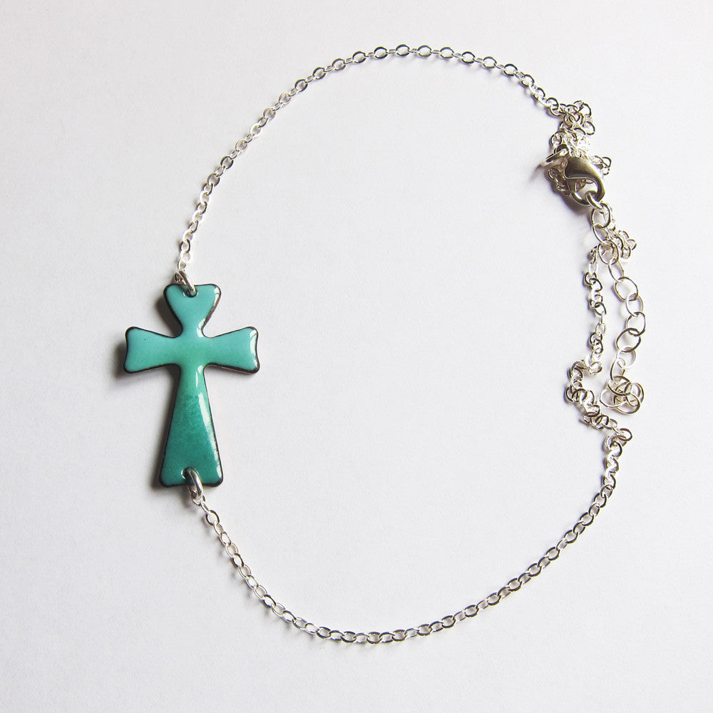 Teal green enamel sideways cross necklace