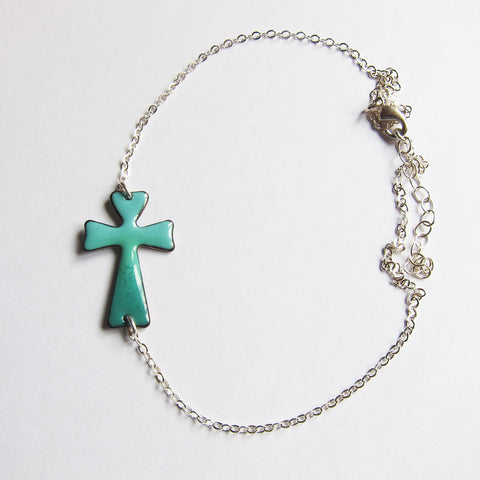 Enamel Sideways Cross Necklace, Teal Green, Sterling Silver Chain