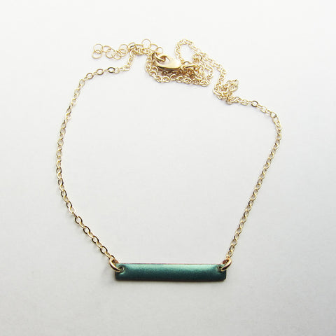 Petite Enamel Aqua Bar Necklace - Gold Chain