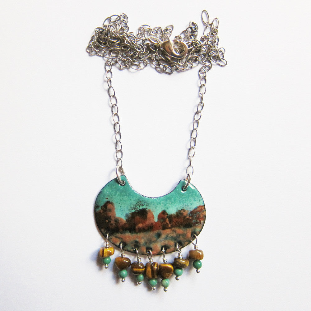 Wearable art jewelry - hand-painted enamel art pendant