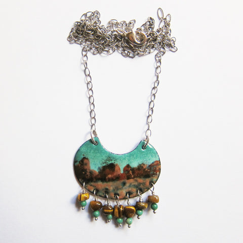 Wearable Art Jewelry - Hand-painted Enamel Pendant Necklace - Southwest Landscape