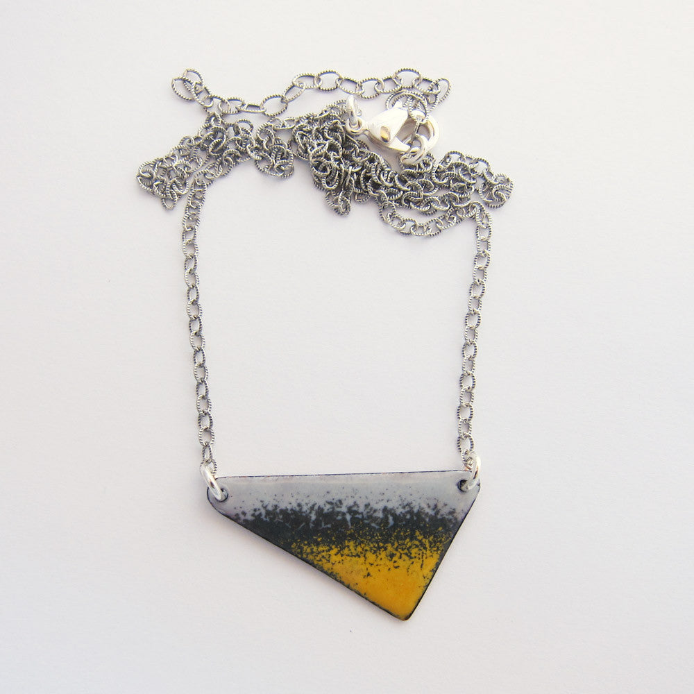 Yellow and gray enamel triangle necklace