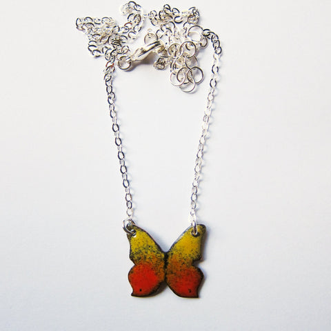 Tiny Butterfly Necklace in Enamel - Sterling Silver