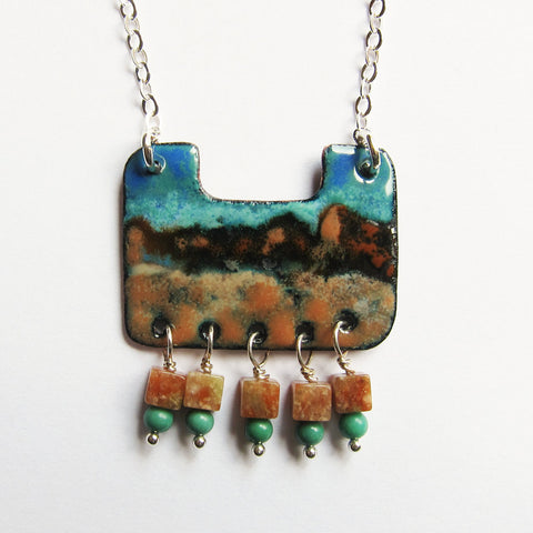 Hand-Painted Enamel Pendant Necklace - Wearable Art Jewelry - Southwest Landscape