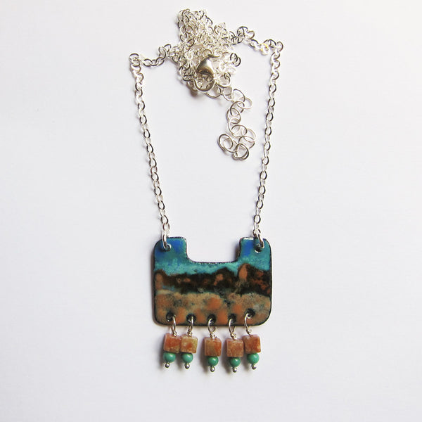 Hand Crafted Enamel House Necklace Pendant Copper Home: Hand-Painted Enamel Pendant Necklace