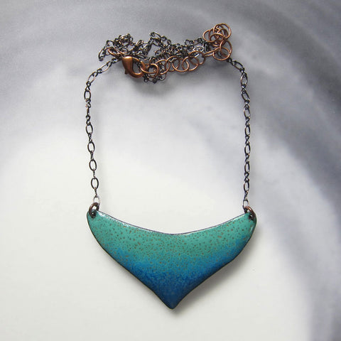 Teal Green Enamel Bib Necklace - Copper Chain