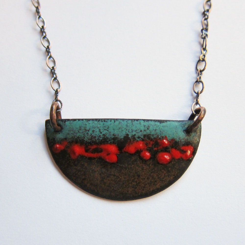 Red and turquoise enamel half moon pendant