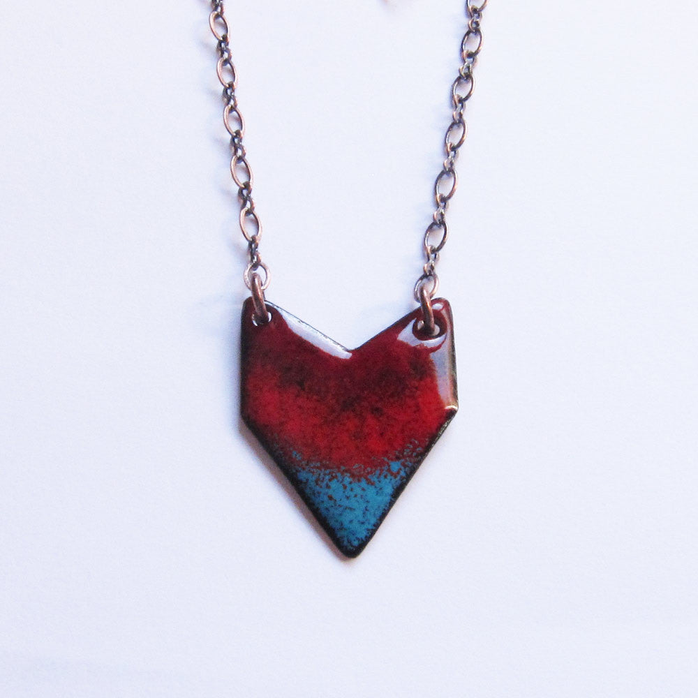 Red enamel chevron heart pendant necklace