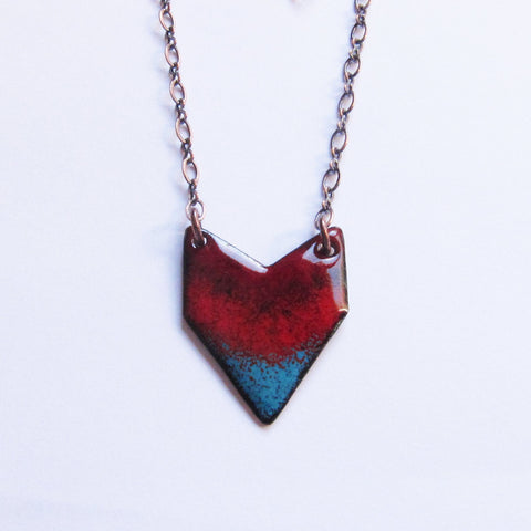 Red Enamel Chevron Heart Pendant Necklace - Bohemian Geometric Jewelry