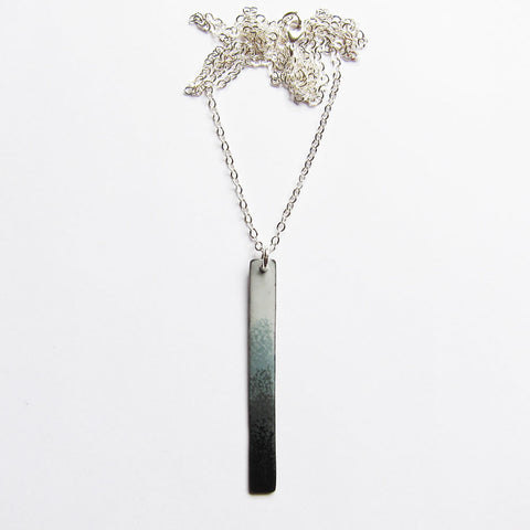 "Long Gray / Black Bar Necklace in Enamel - 30"" Silver Chain"