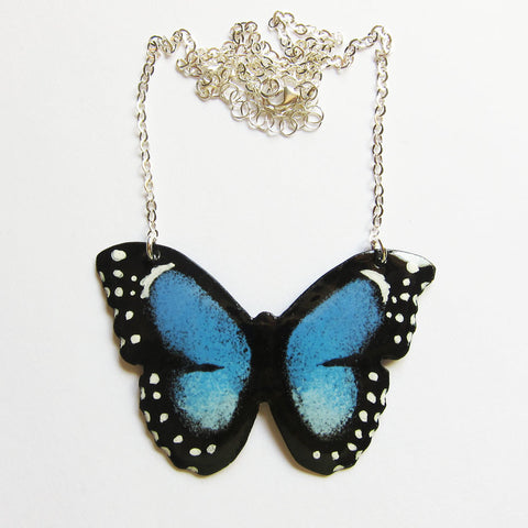 Large Blue Enamel Butterfly Necklace - Wearable Art Jewelry