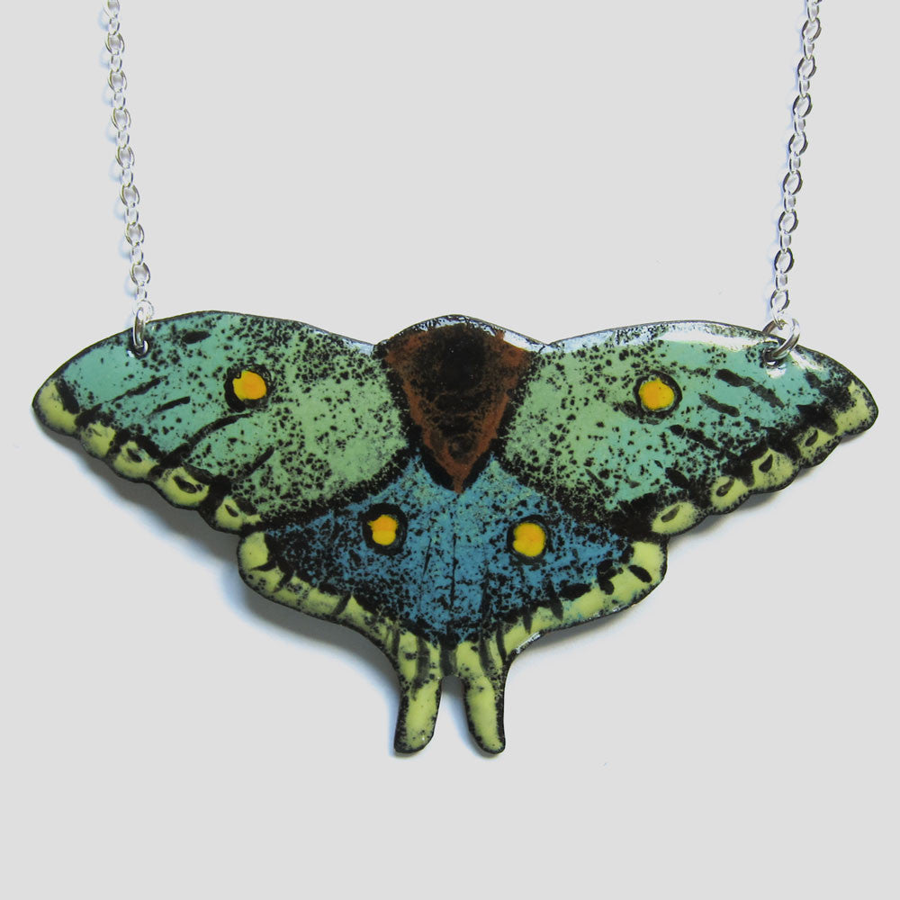 Enamel Moth Necklace - Statement Jewelry
