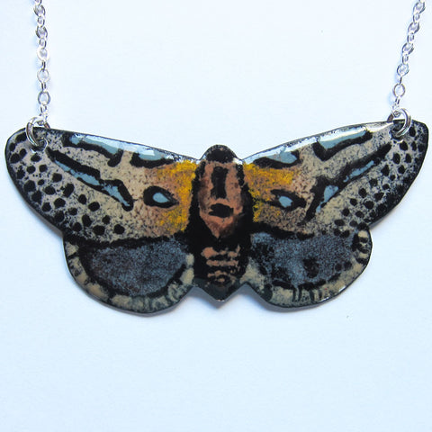 Hieroglyphic Moth Necklace in Enamel - Uncommon Statement Jewelry