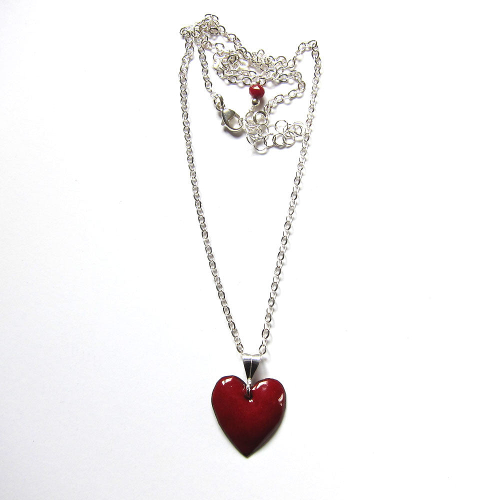Tiny red enamel puffy heart necklace