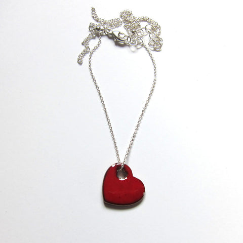 Dainty Red Enamel Heart Necklace