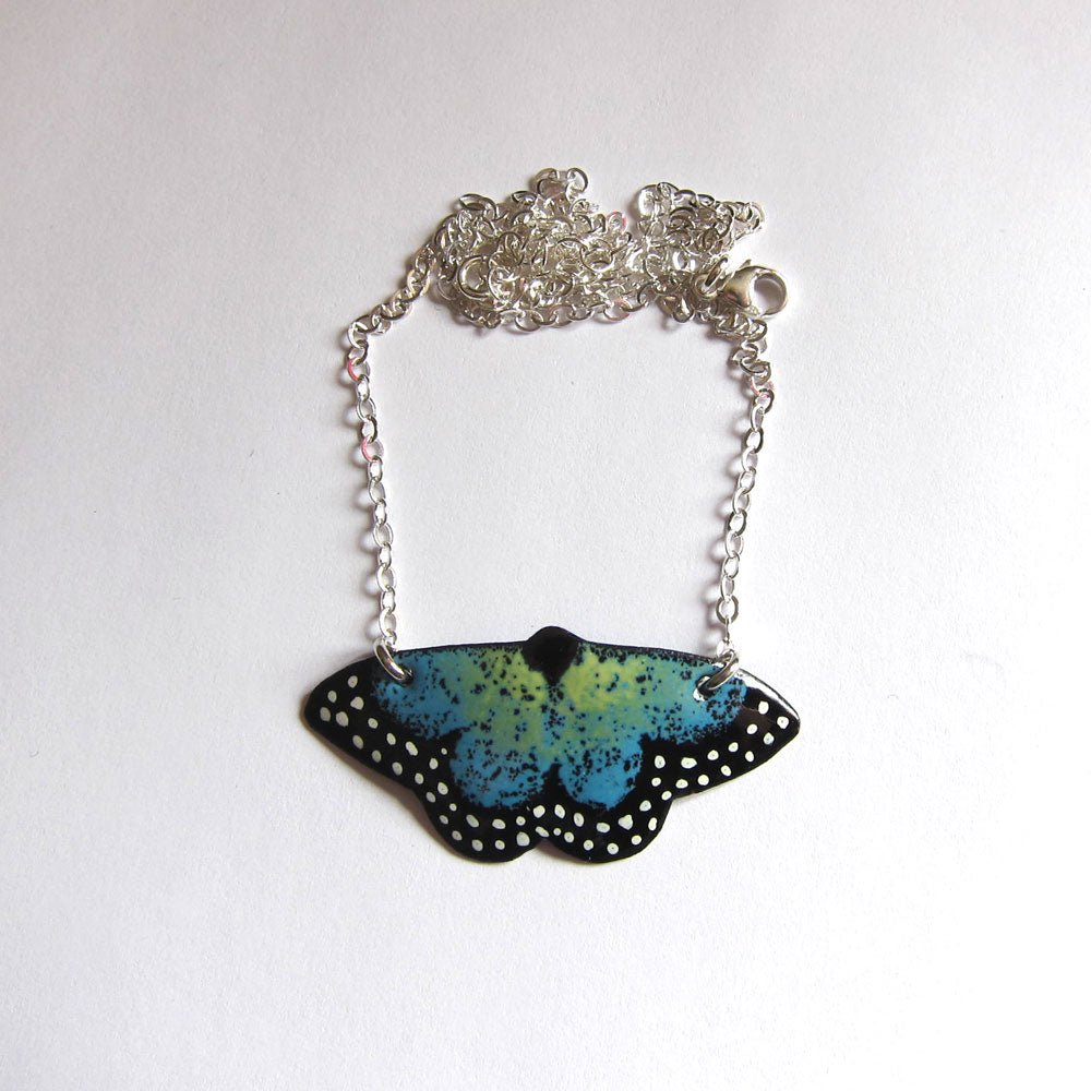 butterfly necklace in enamels