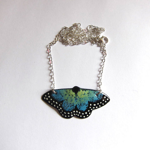 Enamel Butterfly Necklace on Sterling Silver