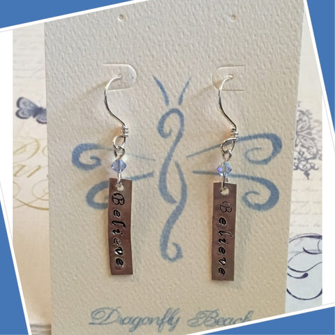 Sterling Silver Believe Earrings