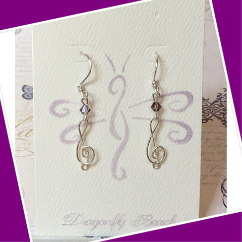 Hand bent Sterling Silver Treble Clef earrings