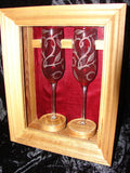 Hand Etched Champagne Glasses With Custom Wood Showcase
