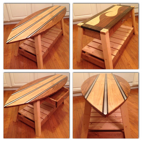 Custom Surfboard Coffee Table with Removable/Interchangeable Top - FREE SHIPPING within the U.S.