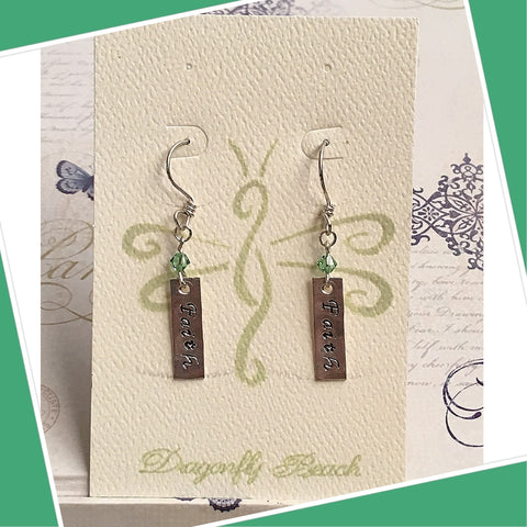 Sterling Silver Faith Earrings