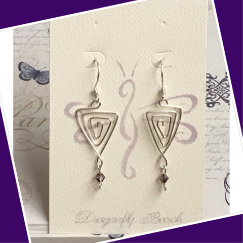 Hand bent Sterling Silver Triangle Earrings