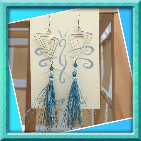 Aqua Blue Sterling Tassel Earrings