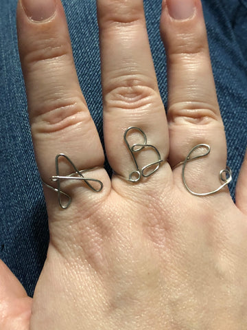 Hand bent Sterling Silver initial ring