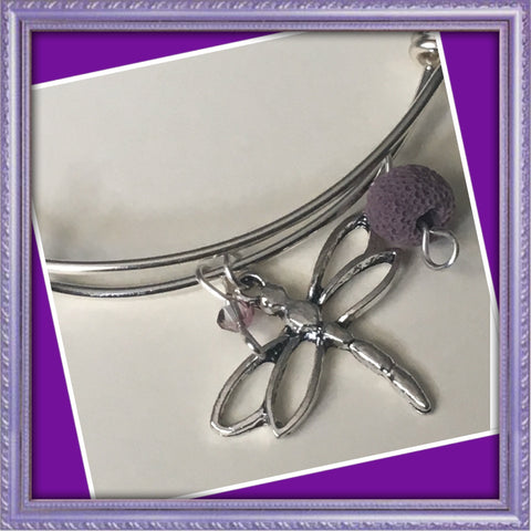 Dragonfly diffuser charm bracelet