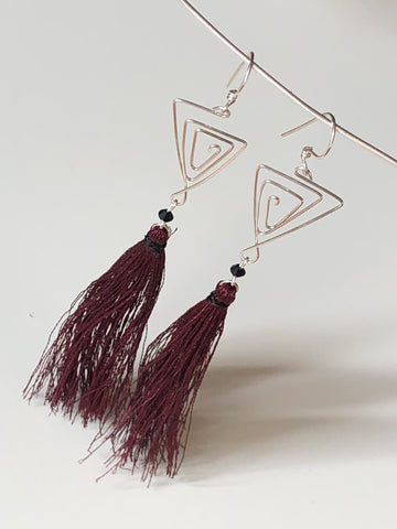 Cranberry Sterling Tassel Earrings