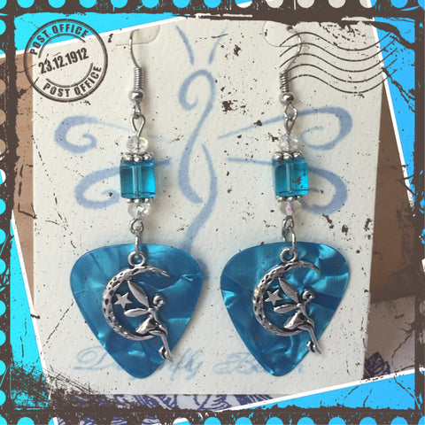 Moon Fairy Guitar Pick Earrings