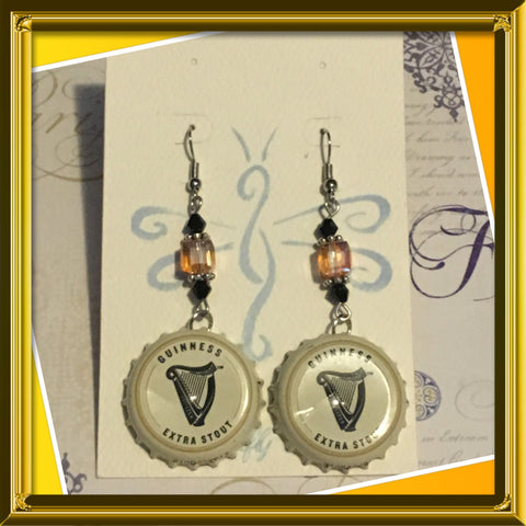 Guinness bottle top earrings