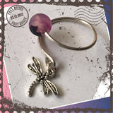 Sterling Silver Dragonfly charm ring