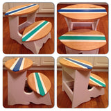 Custom Personalized Handmade 2 Step Surfboard Step Stool - Free Shipping within U.S.