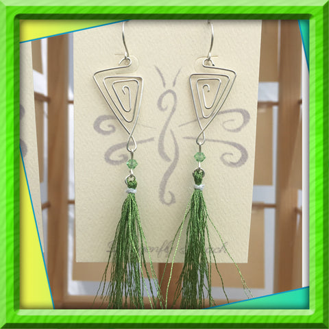 Green Sterling Tassel Earrings