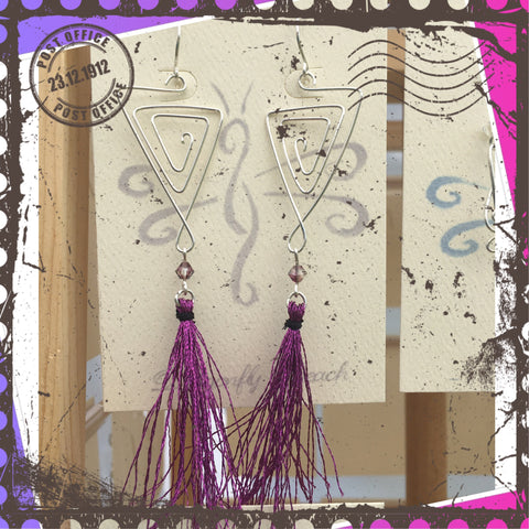 Magenta Sterling Tassel Earrings