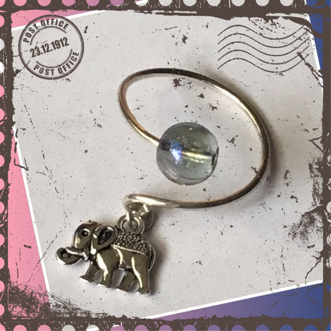 Sterling Silver Elephant charm ring