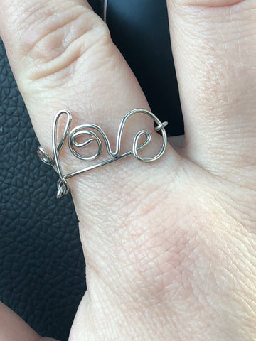 Hand bent Sterling Silver love ring