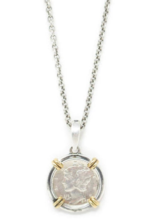 John Varvatos Mercury Dime Pendant on Link Chain