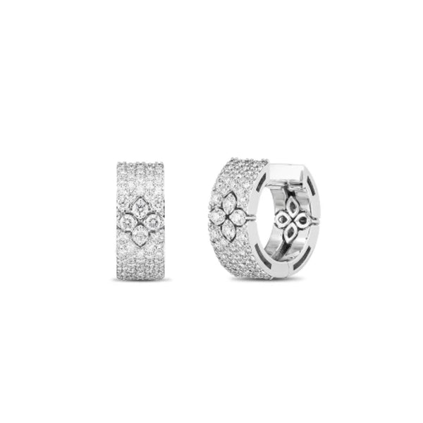 18KW Love in Verona Pave All Diamond 15MM Huggie Earring