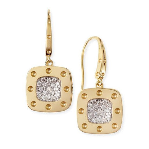 18k Yellow Pois Mois Mini Drop earrings with diamonds